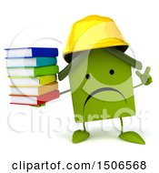 Clipart Of A 3d Green Home Contractor Holding Books On A White Background Royalty Free Illustration