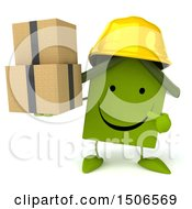 Clipart Of A 3d Green Home Contractor Holding Boxes On A White Background Royalty Free Illustration