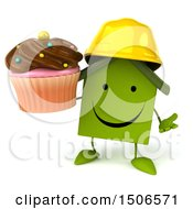 Clipart Of A 3d Green Home Contractor Holding A Cupcake On A White Background Royalty Free Illustration