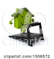 Clipart Of A 3d Green Home Running On A Treadmill On A White Background Royalty Free Illustration