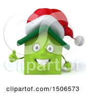 3d Green Christmas Home On A White Background