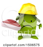 Clipart Of A 3d Green Home Contractor Holding A Steak On A White Background Royalty Free Illustration