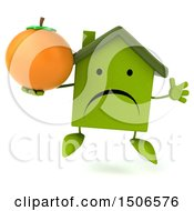 Clipart Of A 3d Green Home Holding An Orange On A White Background Royalty Free Illustration