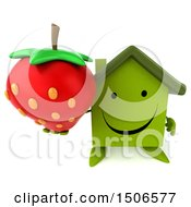 Clipart Of A 3d Green Home Holding A Strawberry On A White Background Royalty Free Illustration