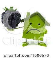Clipart Of A 3d Green Home Holding A Blackberry On A White Background Royalty Free Illustration