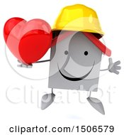 Poster, Art Print Of 3d White Home Contractor Holding A Heart On A White Background