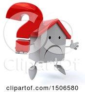 Clipart Of A 3d White Home Holding A Question Mark On A White Background Royalty Free Illustration