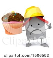 Clipart Of A 3d White Home Contractor Holding A Cupcake On A White Background Royalty Free Illustration