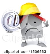 Clipart Of A 3d White Home Contractor Holding An Email Symbol On A White Background Royalty Free Illustration