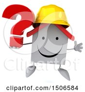 Clipart Of A 3d White Home Contractor Holding A Question Mark On A White Background Royalty Free Illustration