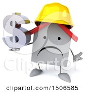 3d White Home Contractor Holding A Dollar Sign On A White Background