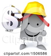 Poster, Art Print Of 3d White Home Contractor Holding A Dollar Sign On A White Background