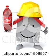 Clipart Of A 3d White Home Contractor Holding A Soda On A White Background Royalty Free Illustration