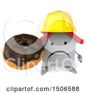 Clipart Of A 3d White Home Contractor Holding A Donut On A White Background Royalty Free Illustration