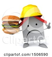 Clipart Of A 3d White Home Contractor Holding A Burger On A White Background Royalty Free Illustration