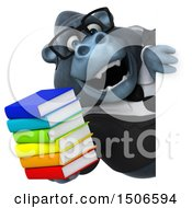 3d Business Gorilla Mascot Holding Books On A White Background