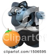 3d Business Gorilla Mascot Holding An Orange On A White Background