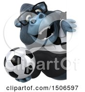 3d Business Gorilla Mascot Holding A Soccer Ball On A White Background