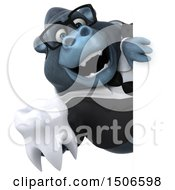 Clipart Of A 3d Business Gorilla Mascot Holding A Tooth On A White Background Royalty Free Illustration
