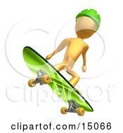 Golden Man In A Green Helmet Catching Air While Skateboarding On A Green Board