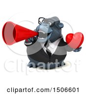 Poster, Art Print Of 3d Business Gorilla Mascot Holding A Heart On A White Background
