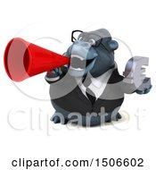 Clipart Of A 3d Business Gorilla Mascot Holding A Euro On A White Background Royalty Free Illustration