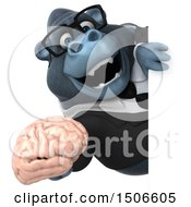 3d Business Gorilla Mascot Holding A Brain On A White Background