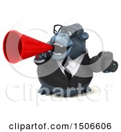 3d Business Gorilla Mascot Holding A Camera On A White Background