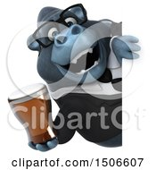 3d Business Gorilla Mascot Holding A Beer On A White Background