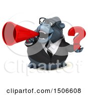 3d Business Gorilla Mascot Holding A Question Mark On A White Background