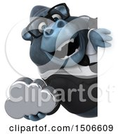 3d Business Gorilla Mascot Holding A Cloud On A White Background