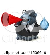 3d Business Gorilla Mascot Holding A Water Drop On A White Background