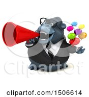 3d Business Gorilla Mascot Holding Messages On A White Background