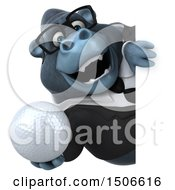 3d Business Gorilla Mascot Holding A Golf Ball On A White Background