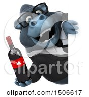 Clipart Of A 3d Business Gorilla Mascot Holding A Wine Bottle On A White Background Royalty Free Illustration