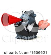 Poster, Art Print Of 3d Business Gorilla Mascot Holding A Piggy Bank On A White Background