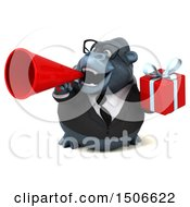 Clipart Of A 3d Business Gorilla Mascot Holding A Gift On A White Background Royalty Free Illustration
