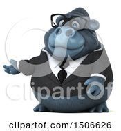 Clipart Of A 3d Business Gorilla Mascot Presenting On A White Background Royalty Free Illustration by Julos