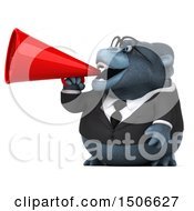 3d Business Gorilla Mascot Using A Megaphone On A White Background