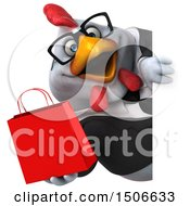 3d Chubby White Business Chicken Holding A Shopping Bag On A White Background