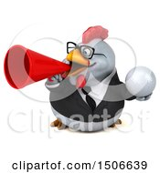 3d Chubby White Business Chicken Holding A Golf Ball On A White Background