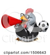 3d Chubby White Business Chicken Holding A Soccer Ball On A White Background