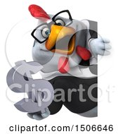 3d Chubby White Business Chicken Holding A Dollar Symbol On A White Background