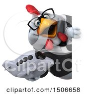 Poster, Art Print Of 3d Chubby White Business Chicken Holding A Plane On A White Background