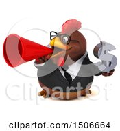 3d Chubby Brown Business Chicken Holding A Dollar Sign On A White Background