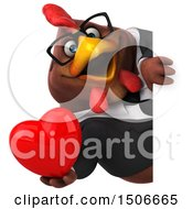 Clipart Of A 3d Chubby Brown Business Chicken Holding A Heart On A White Background Royalty Free Illustration