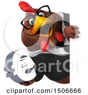 3d Chubby Brown Business Chicken Holding A Euro On A White Background