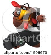 Clipart Of A 3d Chubby Brown Business Chicken Holding A Camera On A White Background Royalty Free Illustration