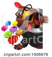 3d Chubby Brown Business Chicken Holding Messages On A White Background