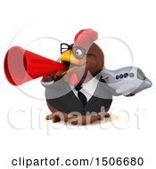 Poster, Art Print Of 3d Chubby Brown Business Chicken Holding A Plane On A White Background